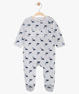 Pyjama bébé garçon en velours à motifs dinosaures vue2 - GEMO C4G BEBE - GEMO