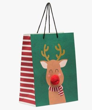 Sac cadeau en papier recyclé renne de Noël vue1 - GEMO (ACCESS) - GEMO