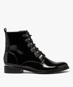 Boots femme unies et vernies à passants métalliques vue1 - GEMO (CASUAL) - GEMO