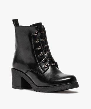 Boots femme à talon carré avec lacets chaînettes vue2 - GEMO(URBAIN) - GEMO