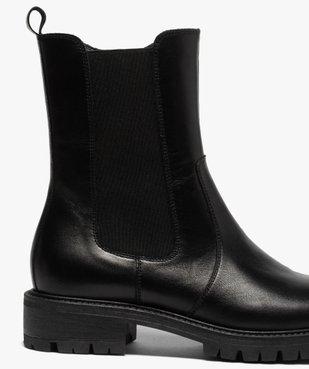 Boots femme unis style chelsea à semelle crantée vue6 - GEMO (CASUAL) - GEMO