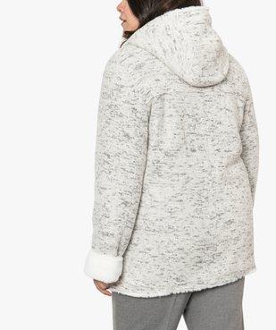 Manteau femme en maille bouclette et détails duveteux vue3 - GEMO (G TAILLE) - GEMO