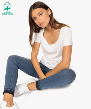 Tee-shirt femme uni à col rond 100% coton biologique vue1 - GEMO C4G FEMME - GEMO