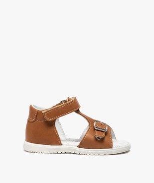 Sandales bébé en cuir uni ajustables - Bopy vue1 - BOPY - GEMO