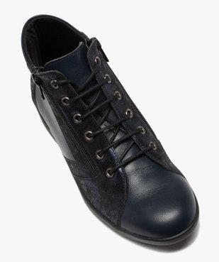 Boots femme confort zippées à talon compensé dessus cuir vue5 - GEMO (CONFORT) - GEMO