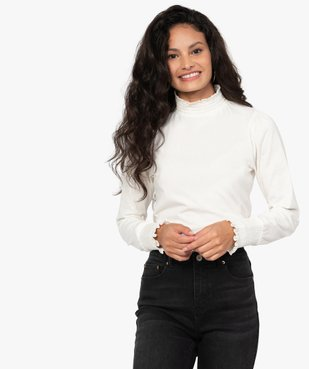 Tee-shirt femme à manches longues col montant vue1 - GEMO C4G FEMME - GEMO