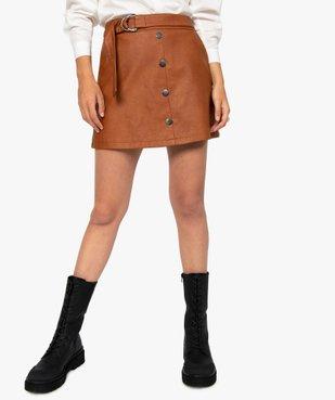 Jupe femme en synthétique imitation cuir avec ceinture vue1 - GEMO(FEMME PAP) - GEMO
