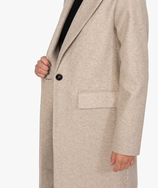 Manteau femme mi-long à col tailleur et fermeture 1 bouton vue2 - GEMO(FEMME PAP) - GEMO