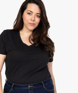 Tee-shirt femme à manches courtes et col V vue2 - GEMO (G TAILLE) - GEMO