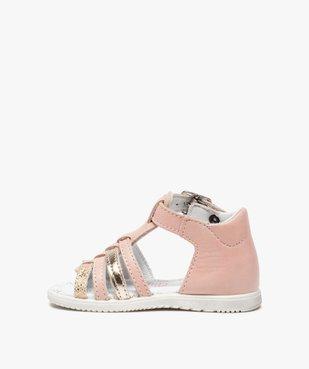 Sandales bébé filles en cuir détails métallisés - Bopy vue3 - BOPY - GEMO