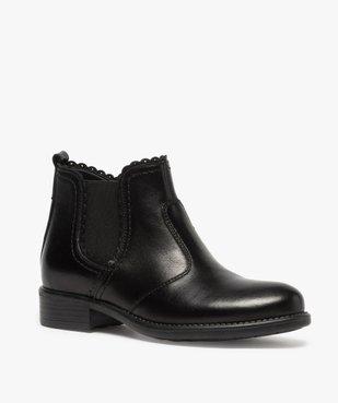 Boots fille style chelsea dessus cuir uni à bords dentelés vue2 - GEMO (ENFANT) - GEMO