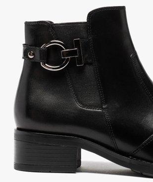 Boots femme à talon plat unis dessus cuir et bride fantaisie vue6 - GEMO (CASUAL) - GEMO