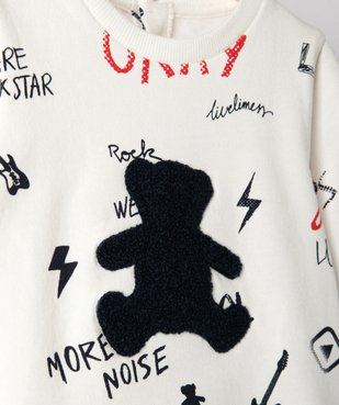 Sweat bébé avec inscription et ourson brodé – Lulu Castagnette vue2 - LULUCASTAGNETTE - Nikesneakers