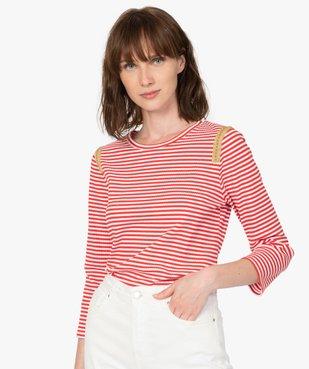 Tee-shirt femme rayé à manches longues en maille côtelée vue1 - Nikesneakers(FEMME PAP) - Nikesneakers