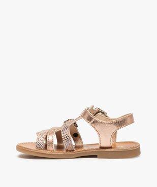 Sandales fille à brides métallisées ajustables - Bopy vue3 - BOPY - GEMO