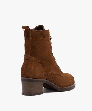 Boots femme à talon carré dessus cuir retourné uni vue4 - GEMO(URBAIN) - GEMO