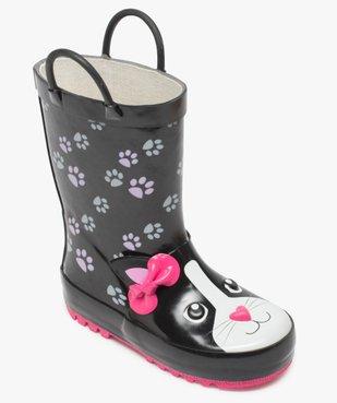 Bottes de pluie fille motif chat en relief avec anses vue5 - GEMO (ENFANT) - GEMO
