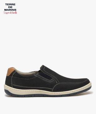 Chaussures bateau homme dessus cuir perforé – Terre de Marins vue1 - TERRE DE MARINS - GEMO