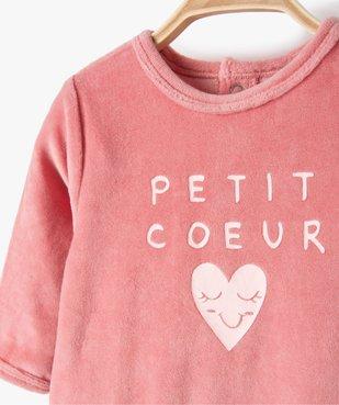 Pyjama bébé fille en velours avec inscription sur le buste vue2 - Nikesneakers(BB COUCHE) - Nikesneakers