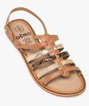 Sandales femme à talon plat et brides multiples en cuir vue5 - GEMO (CASUAL) - GEMO