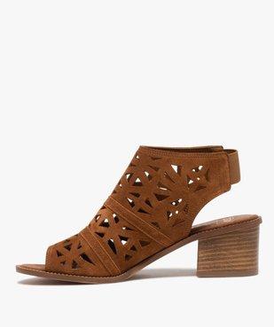 Sandales femme à talon carré et tige couvrante ajourée vue3 - GEMO(URBAIN) - GEMO