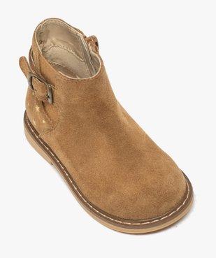 Boots bébé fille zippées style chelsea dessus cuir retourné vue5 - GEMO(BEBE DEBT) - GEMO