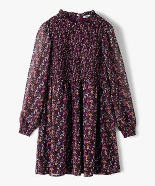 Robe fille imprimée à manches longues vue1 - GEMO (JUNIOR) - GEMO
