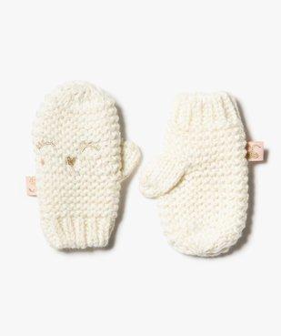 Moufles bébé fille à broderie pailletée vue1 - GEMO(BEBE DEBT) - GEMO