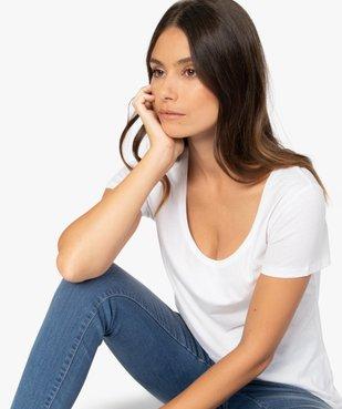 Tee-shirt femme uni à col rond 100% coton biologique vue2 - GEMO C4G FEMME - GEMO