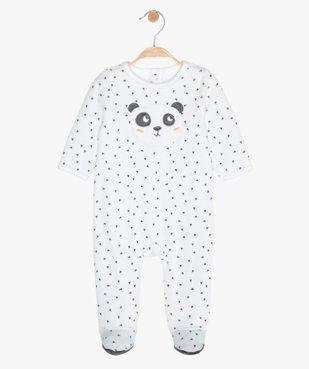 Pyjama bébé en velours imprimé en polyester recyclé vue1 - GEMO(BB COUCHE) - GEMO