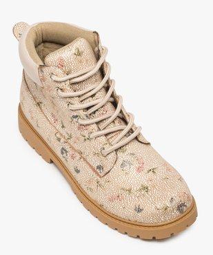 Boots femme à lacets col rembourré et semelle crantée Dessus imprimé fleuri vue5 - GEMO (CASUAL) - GEMO