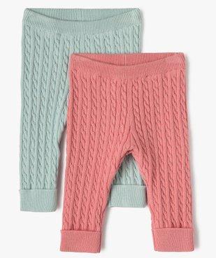 Pantalon bébé fille en maille torsadée (lot de 2) vue1 - GEMO(BB COUCHE) - GEMO