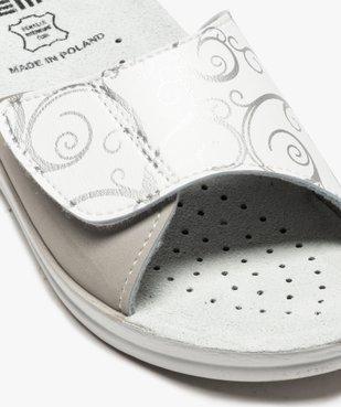 Mules femme confort ouvertes à bandeau scratch imprimé vue6 - GEMO (CONFORT) - GEMO