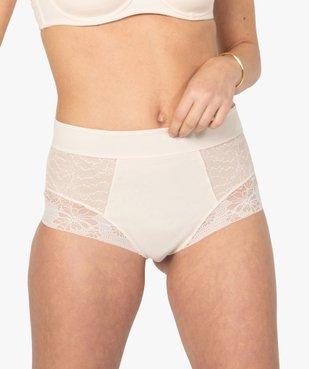 Culotte femme gainante taille haute en microfibre et dentelle vue1 - GEMO(HOMWR FEM) - GEMO