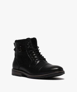 Boots homme unis doublure chaude fermeture lacets et zip vue2 - GEMO (CASUAL) - GEMO