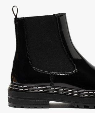 Boots femme style chelsea vernies à semelle crantée vue6 - Nikesneakers (CASUAL) - Nikesneakers