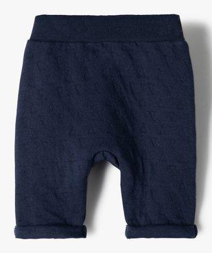 Pantalon bébé garçon en maille effet matelassé vue3 - GEMO(BB COUCHE) - GEMO