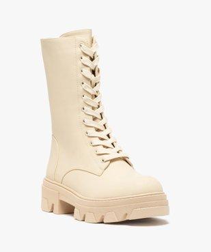 Boots femme unies à lacets semelle extra large et crantée vue2 - GEMO (CASUAL) - GEMO