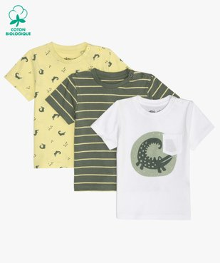 Tee-shirt bébé garçon à motifs et poche poitrine (lot de 3) rayures / crocodiles vue1 - GEMO C4G BEBE - GEMO