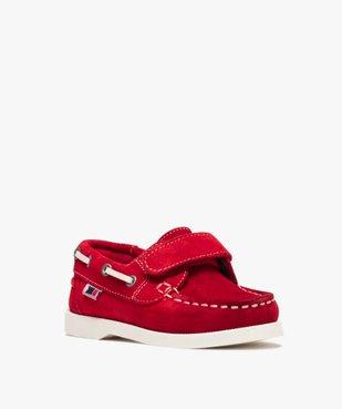 Chaussures bateau garçon dessus cuir à fermeture scratch Dessus cuir retourné uni vue2 - GEMO (ENFANT) - GEMO