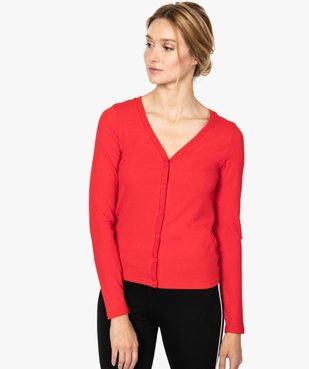 Tee-shirt femme en maille côtelée boutonné sur l'avant vue1 - FOLLOW ME - GEMO