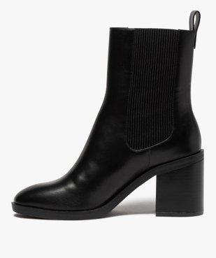 Boots femme à talon carré dessus uni style chelsea vue3 - GEMO(URBAIN) - GEMO