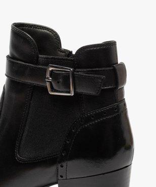 Boots femme à talon rainuré dessus cuir uni vue6 - GEMO(URBAIN) - GEMO