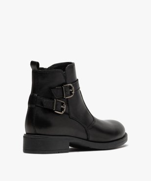 Boots fille unis dessus cuir à fermeture zippée vue4 - GEMO (ENFANT) - GEMO