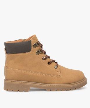 Boots garçon avec col rembourré, lacets montagne et semelle crantée vue1 - GEMO (ENFANT) - GEMO