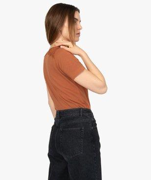 Tee-shirt femme à manches courtes avec épaules en dentelle vue3 - GEMO (MAILLE) - GEMO