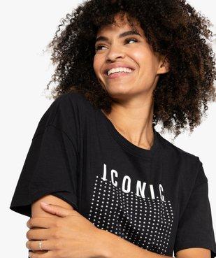 Tee-shirt femme à manches courtes et strass vue2 - GEMO(FEMME PAP) - GEMO