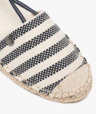 Sandales femme en toile à talon compensé – Terre de Marins Dessus rayé marin vue6 - TERRE DE MARINS - GEMO