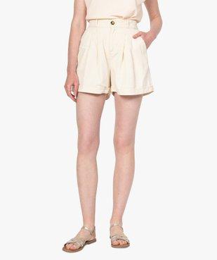 Short femme en toile coupe ample vue1 - GEMO(FEMME PAP) - GEMO