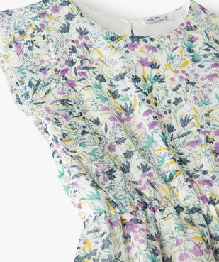 Robe fille à motifs fleuris et rayures pailletées vue2 - Nikesneakers (ENFANT) - Nikesneakers